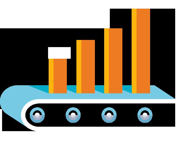 Conceptual illustration/combination of bar graph and treadmill